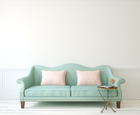 Foto de Romantic interior with blue couch near empty white wall. 3d render. - Imagen libre de derechos