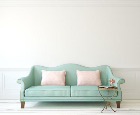 Photo pour Romantic interior with blue couch near empty white wall. 3d render. - image libre de droit