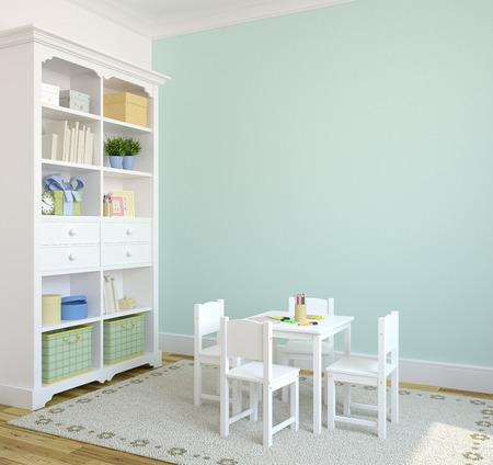 Photo pour Colorful playroom interior. 3d render. P - image libre de droit