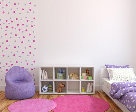 Photo pour Colorful playroom interior. 3d render. - image libre de droit