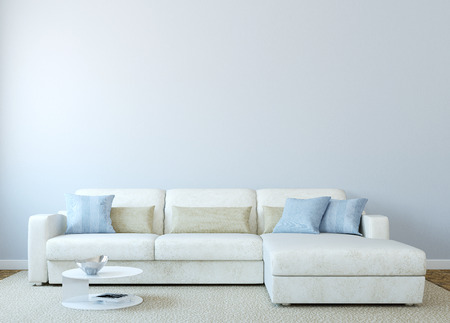 Photo pour Modern living-room interior with white couch near empty blue wall. 3d render. Photo on book cover was made by me. - image libre de droit