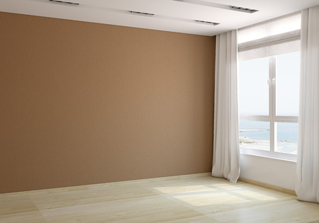 Photo pour Interior of empty room. 3d render. Photo behind the window was made by me. - image libre de droit