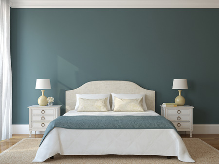 Photo pour Bedroom interior. Provence. 3d render. - image libre de droit