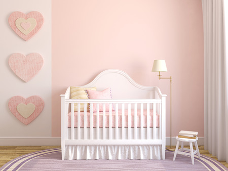 Photo pour Colorful interior of nursery. Frontal view. 3d render. - image libre de droit
