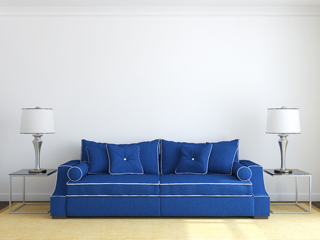 Foto de Modern living-room interior with blue couch near white wall. Frontal view. 3d render. - Imagen libre de derechos