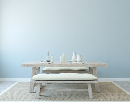 Photo for Dining-room interior. Country style. 3d render. - Royalty Free Image