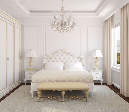 Photo pour Classical white bedroom interior. 3d render. Photo behind the window was made by me. - image libre de droit