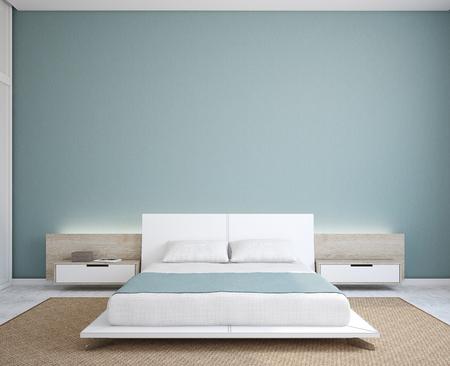 Modern bedroom interior. Minimalism. 3d render.