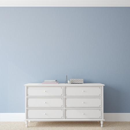 Photo pour Interior with dresser near empty blue wall. 3d render. - image libre de droit