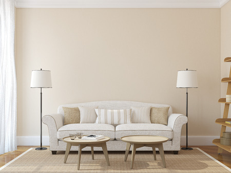 Photo pour Modern living-room interior with white couch near empty beige wall. 3d render. Photo on book cover was made by me. - image libre de droit