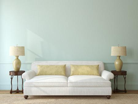 Foto de Classic living-room interior with white couch near empty blue wall. 3d render. - Imagen libre de derechos
