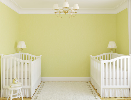 Photo pour Interior of cozy nursery for twins with two cribs. Frontal view. 3d render. - image libre de droit
