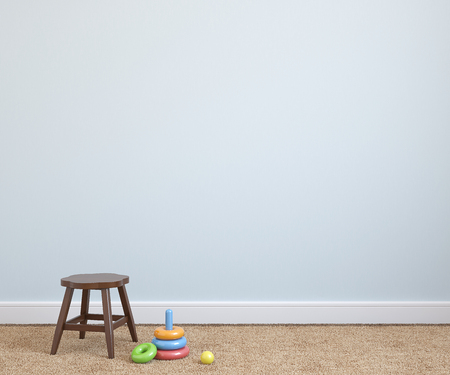 Photo pour Interior of playroom with chair near empty blue wall. 3d render. - image libre de droit