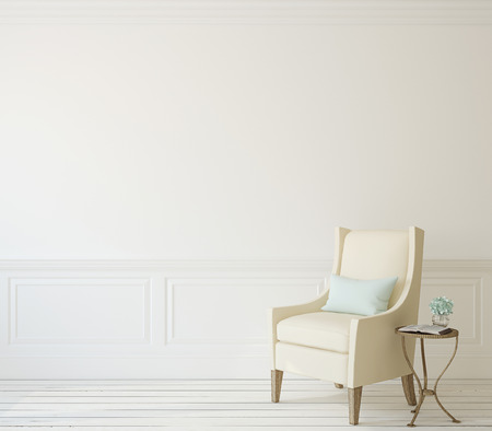 Photo pour Interior with beige armchair near white wall. 3d render. - image libre de droit