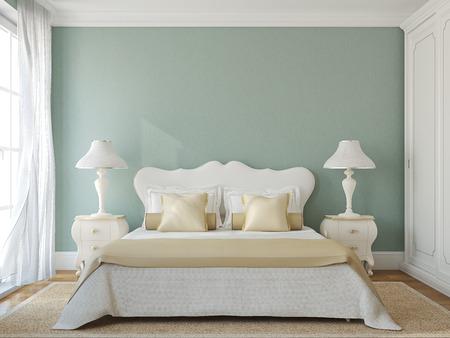 Foto de Classical bedroom interior. 3d render. - Imagen libre de derechos
