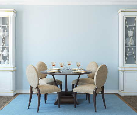 Photo for Modern dining-room interior.3d render. - Royalty Free Image