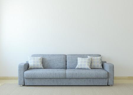 Foto de Modern living-room interior with gray couch near empty white wall. 3d render. - Imagen libre de derechos