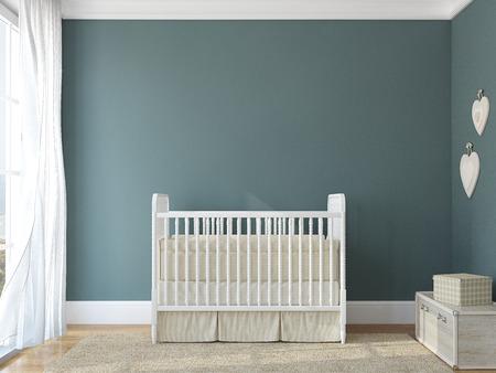 Foto de Interior of nursery with vintage crib. 3d render. Photo behind the window was made by me. - Imagen libre de derechos