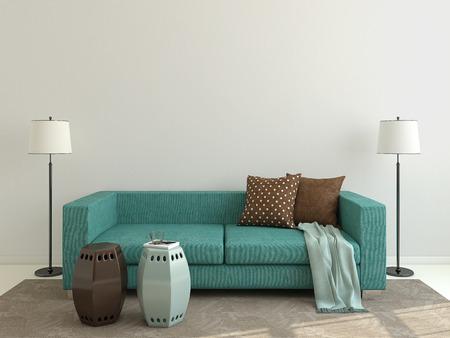 Foto de Interior of modern living-room with blue couch. 3d render. - Imagen libre de derechos