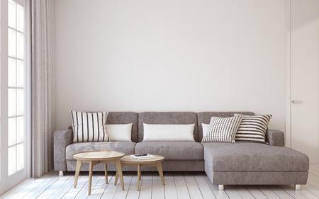Foto de Living-room interior in scandinavian style 3d render. - Imagen libre de derechos