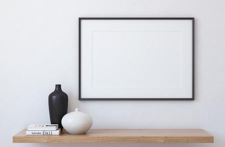 Foto de Frame landscape mockup. Interior with large frame. 3d render. - Imagen libre de derechos