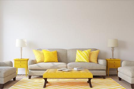Photo pour Living-room interior. Mockup. 3d render. - image libre de droit