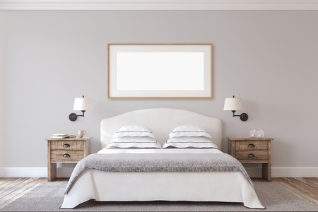 Photo for Bedroom interior in farmhouse style. Frame mock-up.3d render. - Royalty Free Image