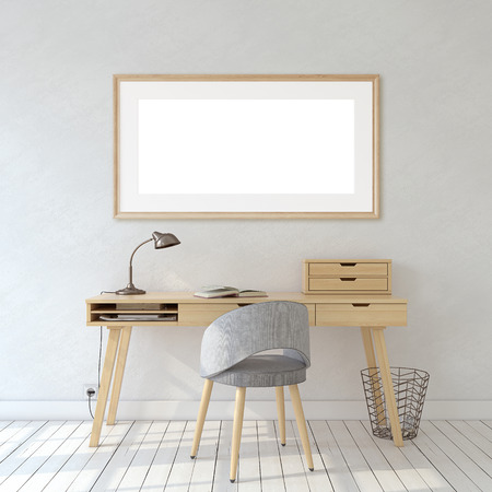 Photo pour Interior of home office in scandinavic style. Interior and frame mockup. Wooden frame on the white wall. 3d render. - image libre de droit