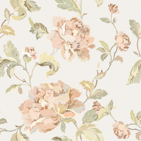Elegance Seamless pattern with flowers roses floral illustration in vintage style mural