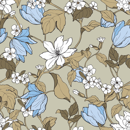 Illustration for Elegant Seamless pattern with flowers Magnolia and tulips vector floral illustration in vintage style - Royalty Free Image