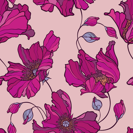 Illustration for Seamless pattern with poppy, Peonies or roses flowers - Royalty Free Image
