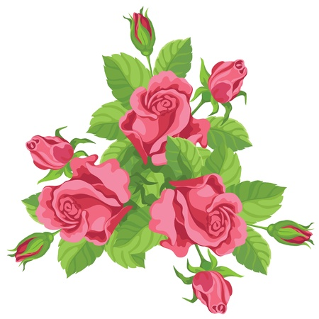 Illustration for hand drawing illustration of a funny bouquet of roses - Royalty Free Image