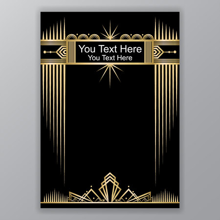 Illustration for Gold and black Art Decor template - Royalty Free Image
