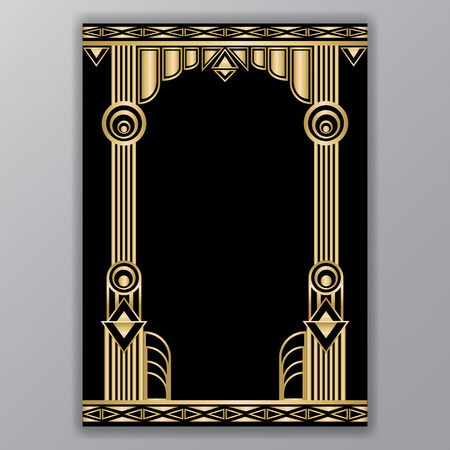 Illustration for An art decor  columns a4 template isolated on plain gray background. - Royalty Free Image