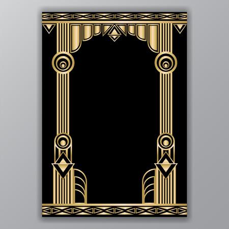 Ilustración de An art decor  columns a4 template isolated on plain gray background. - Imagen libre de derechos