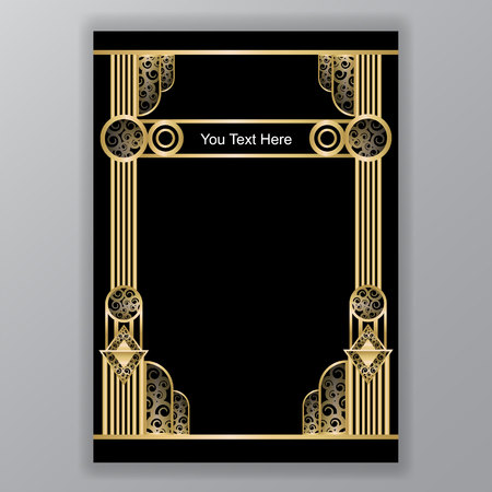 Illustration for art deco greece  columns a4 template swirl and curls - Royalty Free Image