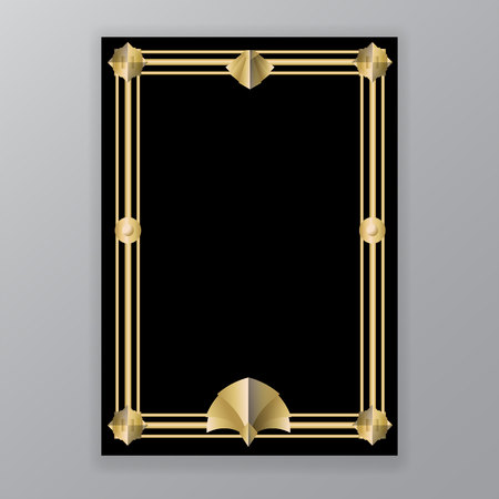 Ilustración de Art Deco template golden-black, A4 page, menu, card, invitation, elegat geometric  leafs ArtDeco/Art Nuvo style, beautiful bakcground . - Imagen libre de derechos
