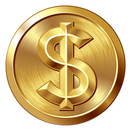 Illustration pour Gold coin with dollar sign. Eps8. CMYK. Organized by layers. Global colors. Gradients used. - image libre de droit