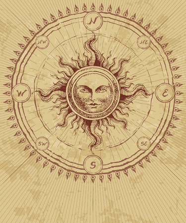Illustration for Compass rose with sun on grunge background. Eps8. CMYK. Organized by layers. Global colors. Gradients free. - Royalty Free Image