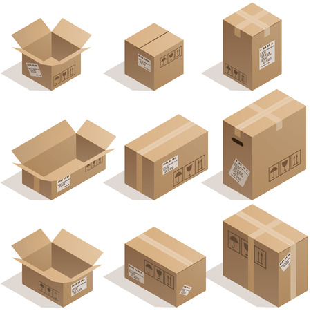 Illustration pour Set of nine isometric cardboard boxes isolated on white. Eps8. CMYK. Organized by layers. Global colors. Gradients used. - image libre de droit