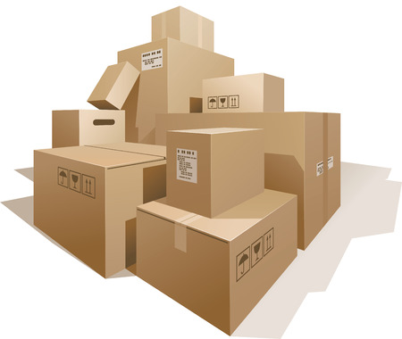 Illustration pour Stack of boxes isolated on white. Eps8. CMYK. Organized by layers. Global colors. Gradients used. - image libre de droit