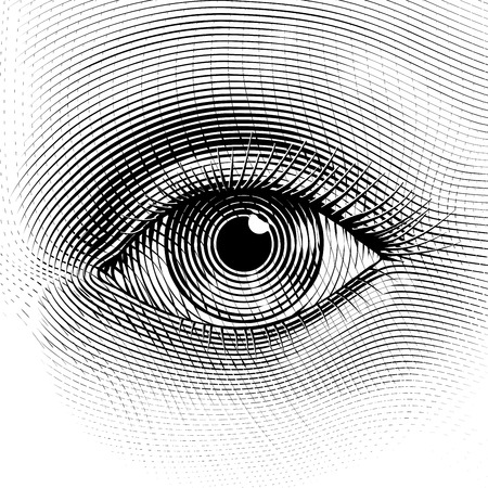 Illustration pour Vector human eye in engraved style. Eps8. CMYK. Organized by layers. One global color. Gradients free. - image libre de droit
