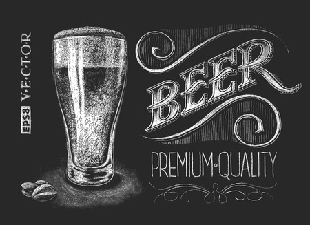 Vector illustration of chalk beer glass on blackboard. Eps8. RGB. Global color. Gradients fr mural