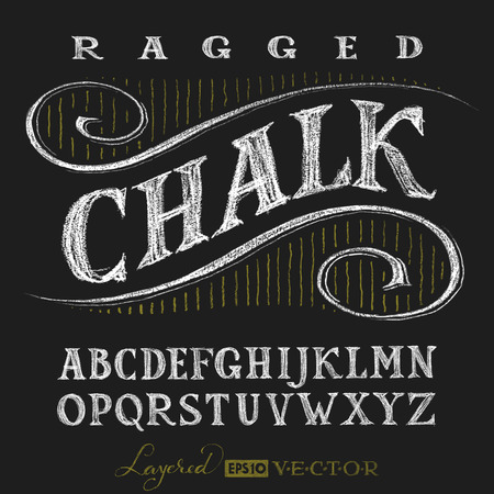 Illustration pour Decorative capital letters hand drawn on a chalkboard. Eps10. Transparency used. RGB. Global colors. Gradients free. Each elements are grouped separately - image libre de droit