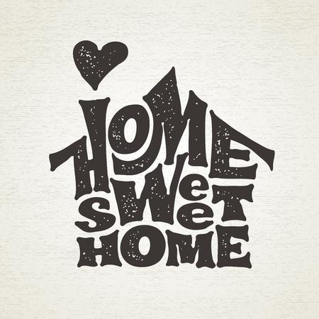 Ilustración de Home sweet home. Vector lettring with house shape - Imagen libre de derechos