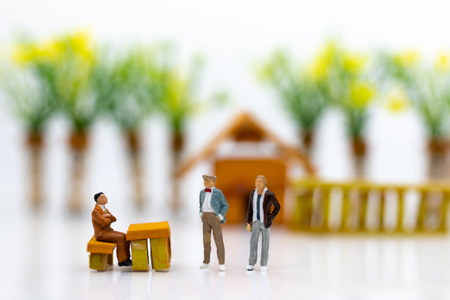 Photo for Miniature people: Businessmen work with team, using as background Choice of the best suited employee, HR, HRM, HRD, job recruiter concepts. - Royalty Free Image
