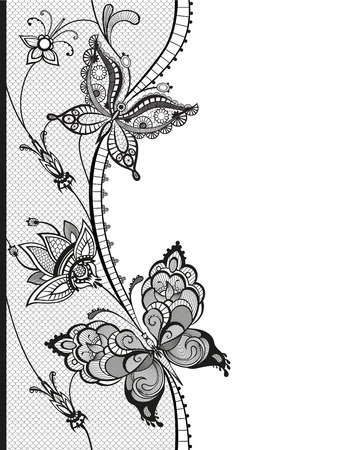 Illustration for Abstract silhouettes of decorative butterflies. These butterflies and flowers are reminiscent of lace, they are created to decorate - Royalty Free Image