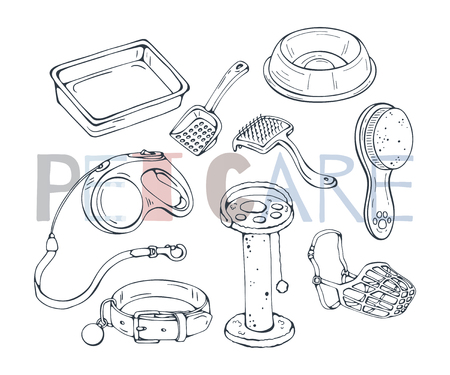 Illustrazione per Group of vector illustrations on the pet care theme accessories for cats and dogs. Isolated objects for your design. Each object can be changed and moved. - Immagini Royalty Free