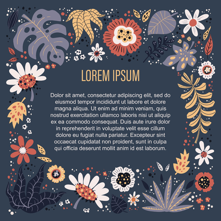 Ilustración de Vector flat hand drawn illustrations. Place for your text surrounded by plants and flowers. Isolated objects for your design. Each object can be changed and moved.  - Imagen libre de derechos