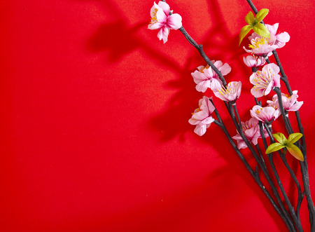 Photo pour chinese new year decorations, Plum blossom on red paper top view with copyspace - image libre de droit